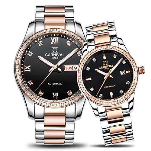 TEINTOP Carnival Couple Mechanical Watches Men and Women for Her or His Set of 2 (Rose Gold Black)
