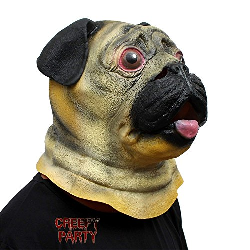 CreepyParty Festa in Costume di Halloween Maschera in Lattice a Testa di Animale Carlino Cane Pug Bulldog