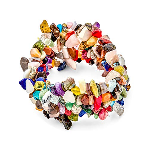 Bling Jewelry Multi Color Piedras Cristal Chip Piedra Amplia Chunky Cluster Multi Strand Stretch Pulsera para Mujer