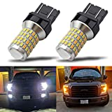 iBrightstar Newest Super Bright 7443 7444NA Switchback LED Bulbs with Projector Replacement for Daytime Running Lights / DRL and Turn Signal Lights,White/Amber