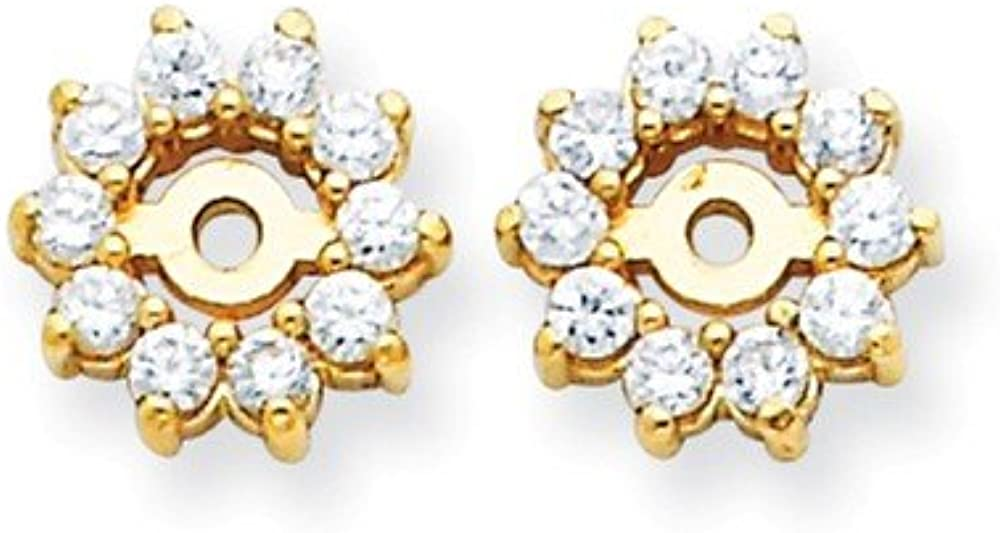 Solid 14k Yellow Gold VS Diamond Earring Jacket 8mm (.3 cttw.)