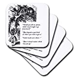 3dRose cst_193784_1 Which Way Ought I Go from Here Chesire Cat-Alice in Wonderland Quote-Soft Coasters, Set of 4