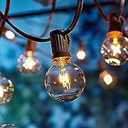 Outdoor Garden String Lights, 25ft G40 OxyLED Garden Patio Outside String Lights,Waterproof Indoor/Outdoor String Lights, Great Garden Terrace Patio Outside Xmas Lights (25 Bulbs,3 Replacement Bulbs)