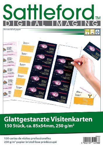 Sattleford Visitenkarten drucken: 150 Business-Visitenkarten mit glatten Kanten, Laser & Injekt, 250g/m² (Namensschilder)