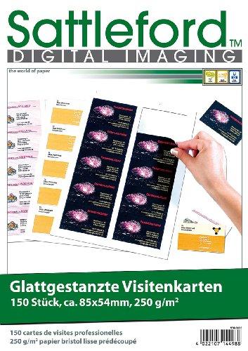 Sattleford Visitenkarten gestanzt: 150 Business-Visitenkarten mit glatten Kanten, Laser & Injekt, 250g/m² (Namensschilder)