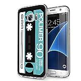 Zhuofan Plus Funda Samsung Galaxy S7 Edge, Silicona Suave Clara Transparent TPU Gel con Diseño Print Pattern Anti-rasguños Shockproof Protactivo Cover para Samsung Galaxy S7 Edge, Cinta Azul