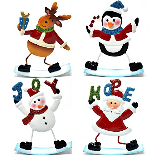Gift Boutique 4 Christmas Table Decorations Centerpiece for Office Desk Shelf Kitchen Home Holiday Decor Includes Metal Santa Snowman Penguin and Reindeer