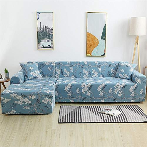 CURTAINSCSR Funda de Sofá Elástica Azul Sofá Cubierta Estampada Poliéster y Elastano Funda de Sofá para Sala de Estar Funda Antideslizante para Muebles, 3 Plazas: 190-230 cm