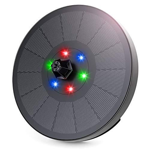 Bomba de Fuente Solar, Fuente de Agua Solar de 3W / 7V con 6 Luces LED, Bomba de Agua Solar de 7 boquillas, Característica de Agua para baño de pájaros, pecera, Estanque, jardín, Acuario(Luz RGB)