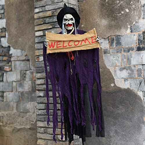 Decoración genérica de Halloween Cadena de luces LED Horror Decoración divertida para colgar en la ventana Linterna colorida Calabaza Luces fantasma Cementerio