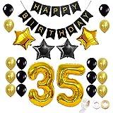 Juland Dorado y Negro 35 Globos de cumpleaños Conjunto Kit de decoración de artículos de Fiesta Feliz cumpleaños Banner Globo de Latex Decoracion Foil Star Globos Número 35 Globos de Oro