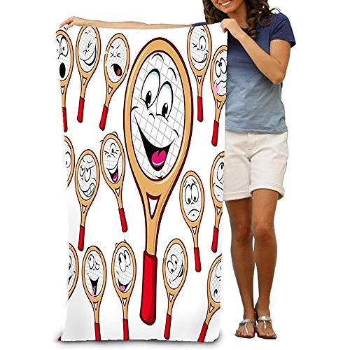 Adultos Toalla de Playa de algodón 31 'X 51' Raqueta de Tenis Dibujos Animados Muchas Expresiones faciales Aisladas Fondo Blanco