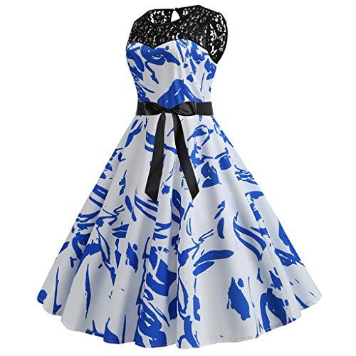 AIni Damen elegant 1950er Jahre Petticoat Kleider Ärmelloses Gepunkte Rockabilly Kleider Cocktailkleider