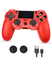 Controller PS4, PS4 Controller Wireless, Controller di gioco compatibile con la console Playstion4, PS4 Bluetooth Gamepad Joystick con cavo e impugnature per il pollice, rosso