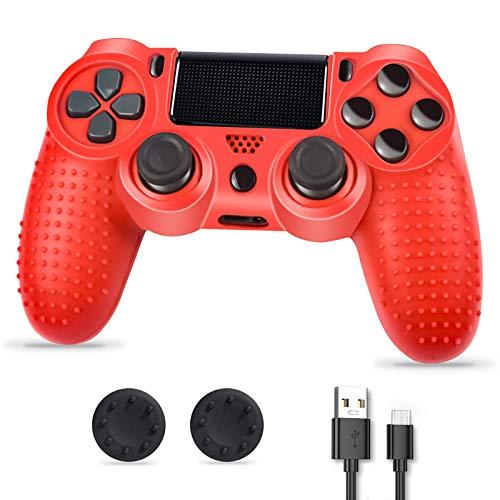 Controller PS4, PS4 Controller Wireless, Controller di gioco compatibile con la console Playstion4, PS4 Bluetooth Gamepad Joystick con cavo e impugnature per il pollice, rosso