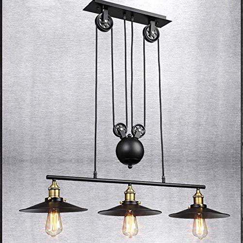 Hanglamp, Amerikaanse kandelaar, industriële, vintage, ijzer, lichttrekkracht, katrol restaurant, lamp Nordic bar kroonluchter 2 roesten Edisonretrobulb