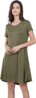 T-Shirt Dresses for Women Summer Plus Size Solid Cotton Short Sleeve Beach Swing Dress with Pocket