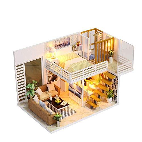 NDYD Casa de Madera Montaje de Juguetes, Casa de muñecas en Miniatura DIY Modelo de Escuela Simple Hecho a Mano Juguetes educativos creativos con música con Luces (Enviar Cubierta de Polvo) DSB