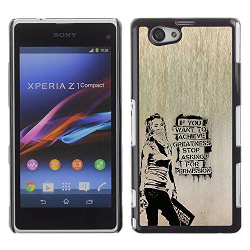 // PHONE CASE GIFT // Moda Estuche Funda de Cuero Billetera Tarjeta de crédito dinero bolsa Cubierta de proteccion Caso Sony Xperia Z1 Compact D5503 / Banksy Graffity /
