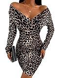 Ninimour Women Fashion Cheetah Print Ruched Long Sleeve Bodycon Dress M Leopard