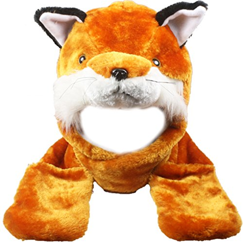 Silver Fever Plush Soft Animal Beanie Hat with Built-in Earmuffs, Scarf, Gloves (Fox)