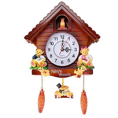 N/A Reloj de pared de madera envejecida con forma de cuco de pájaro, timbre de pájaro, reloj despertador, decoración del hogar