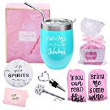 Yorktend Not a Day Over Fabulous Wine Tumbler - Fun Birthday Gifts for Women - Funny Birthday Wine Gifts Ideas for Her, Friend BFF, Mom, Grandma, Wife, Daughter, Sister, Aunt, Coworker