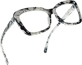SunglassUP Chunky Square Classy Cat Eye Prescription Reading Glasses for Women Power +1.0 Thru +3.25 (Marble White, 2.75)