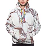 Men's Hoodies Sweatshirts,Dolomite Rocks Pattern with Characteristic Swirls and Cracked Lines Abstract Art,Large