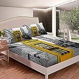 Big Ben - Juego de sábanas para cama con diseño de cabina de teléfono, para niños, niñas, adolescentes, elegante, brillante, diseño de Londres, color amarillo y gris
