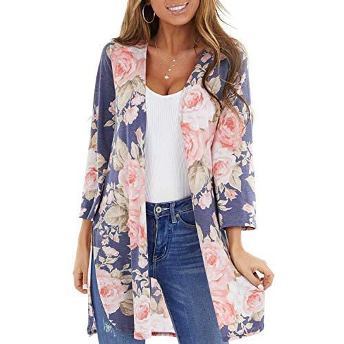 Muium(TM) Cardigan estivo da donna in chiffon floreale kimono - maniche lunghe con taglio a maglia boho spiaggia Shawl bikini Cover up giacca leggera Blu M