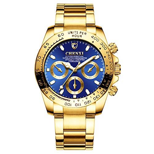 XLORDX - Reloj de pulsera para hombre, analógico, de cuarzo, con correa de acero inoxidable, esfera azul