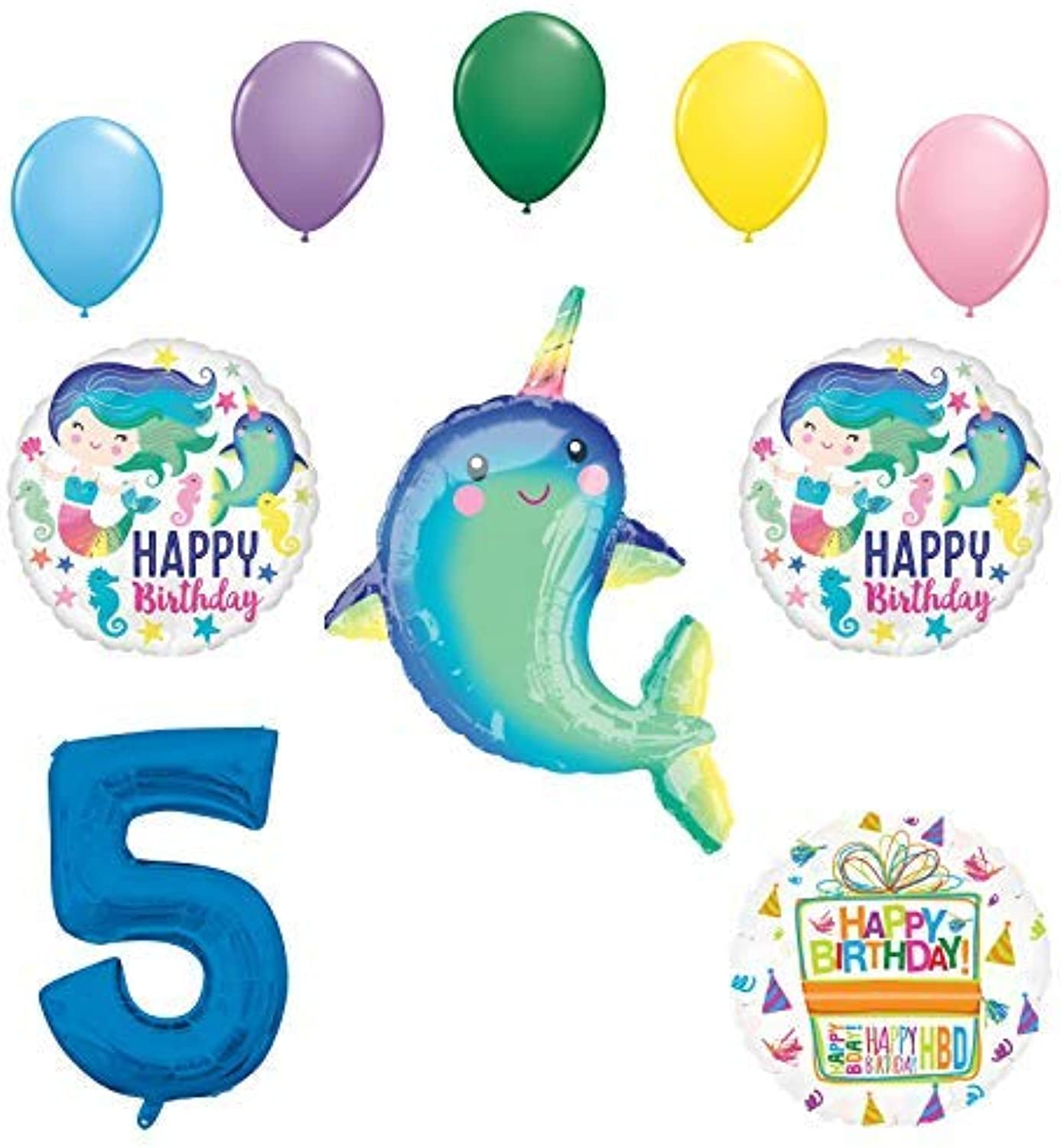Mayflower Products Narwhal Party Supplies 5th Birthday Mermaid Balloon Bouquet Decorations