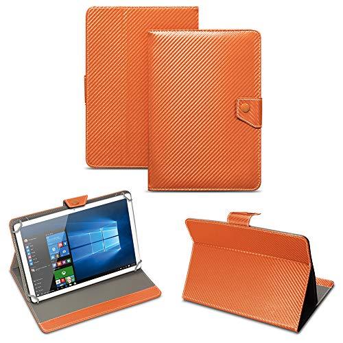 NAUC Universal Tablet Tasche mit Standfunktion Hülle für Blaupunkt Endeavour 101M 101G 101L Tablet Schutztasche in Edler Carbon-Optik Schutzhülle Cover Hülle, Farben:Bronze