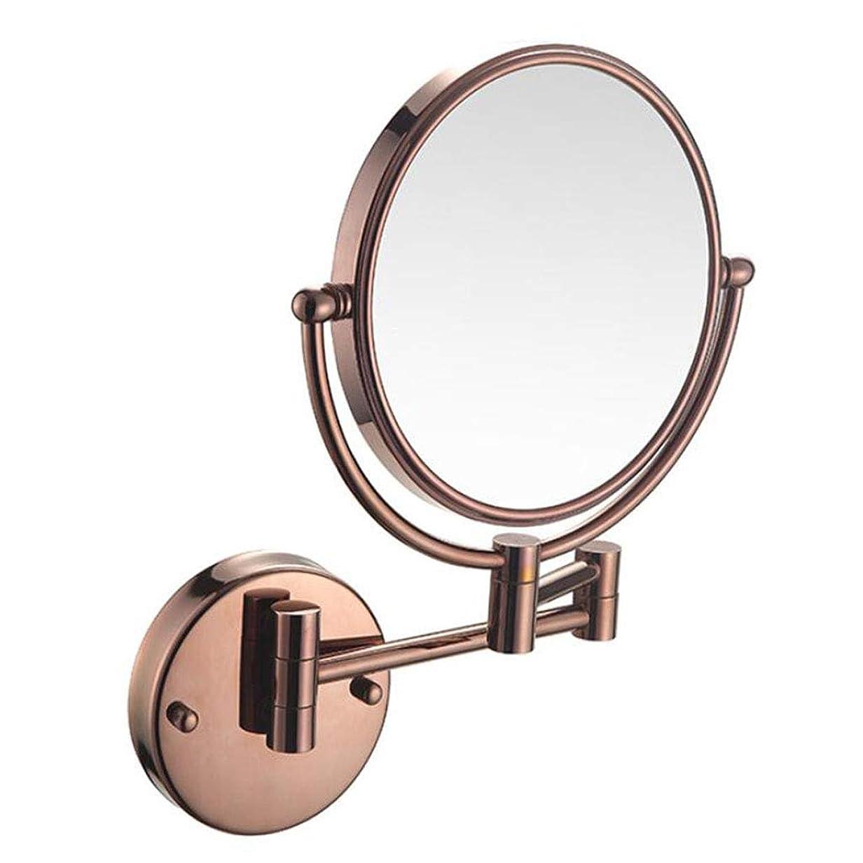ロールに慣れそれらHUYYA シェービングミラー 壁付、8インチ バスルームメイクアップミラー 丸め 360度回転 バニティミラー 両面 化粧鏡 折りたたみ 寝室や浴室に適しています,Rose gold_7x