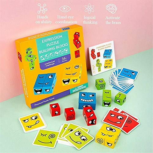 Soudream Expression Puzzle Building Cubes, Geometric Cube Face Holzspielzeug, Kids Puzzles Brain Teaser, Face-Changing Holzpuzzle Box, Brain Games Building Cubes Interaktionsspielzeug (A)