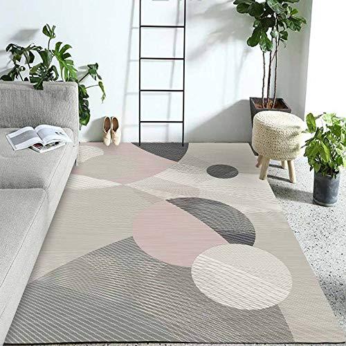 HXJHWB Vloerkleed, platpolig, inspiratie, met geometrisch patroon, wasbaar, woonkamer, sofa, salontafel, pad, studeerkleed, antislip, decoratief tapijt