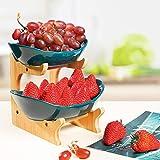LIBWYS Obst Etagere Keramik 2 Stöckig Porzellan Obstteller 2 Etagen Obstschale mit Natürlichem Bambus Ständer Servierteller für Obst, Kuchen, Süßigkeiten (Dunkelgrün)