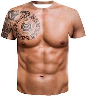 kelebin Muscle Tattoo Print T-Shirt Men Short Sleeve 3D Digital Printing T-Shirt