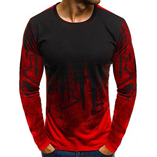 iTLOTL Mens Gradient Color Long-Sleeve Shirt Beefy Muscle Basic Solid Sweatshirt Tee Top(Medium,Red-C)