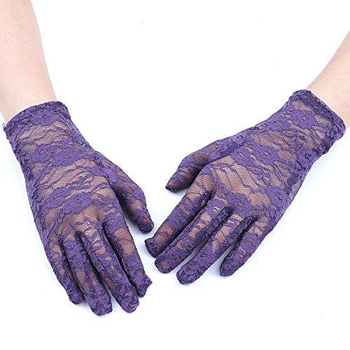 GREATLOVE Women's Summer Elegant Short Lace Elastic Gloves, Purple, 8.66' long Width 3.15'