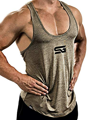 Satire Gym Fitness Stringer Herren - Funktionelle Sport Bekleidung - Geeignet Für Workout, Training - Tank Top (Khaki meliert, XXL)