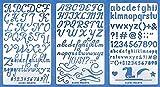 Aleks Melnyk #34 Stencil in Metallo Riutilizzabili per Pittura, Set da 3 Pezzi/Stampo Stencil con Alfabeto, Lettere Corsivo, Numeri/Stencil da Cartolina, DIY/Template di Pittura Decorativo
