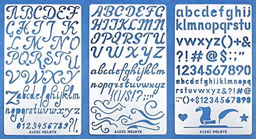 Aleks Melnyk #34 Pochoir à Dessin/Planches de Pochoirs avec de l'alphabet, Lettres et Chiffres pour Loisirs Créatifs/Stencils Peinture Journal en métal/Sertie de 3/Gabarit Scrapbooking
