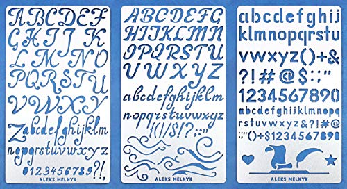 Aleks Melnyk #34 Metal Journal Stencils/Alphabet Letter Number, ABC/Stainless Steel Stencils Kit 3...