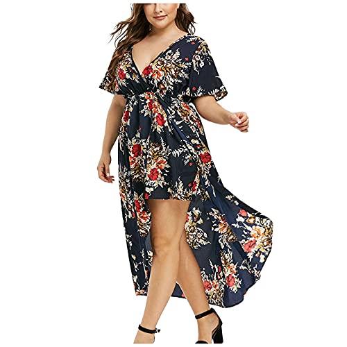 pamkyaemi Vestido de verano para mujer, elegante, largo, estampado floral, manga corta, cuello en V, vestido irregular, con ranuras, para el verano, para el tiempo libre, para la playa. marine XL