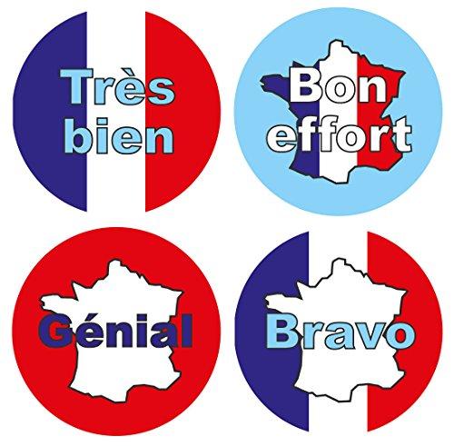 Pegatinas de recompensa de 15 mm en francés: 440 pegatinas