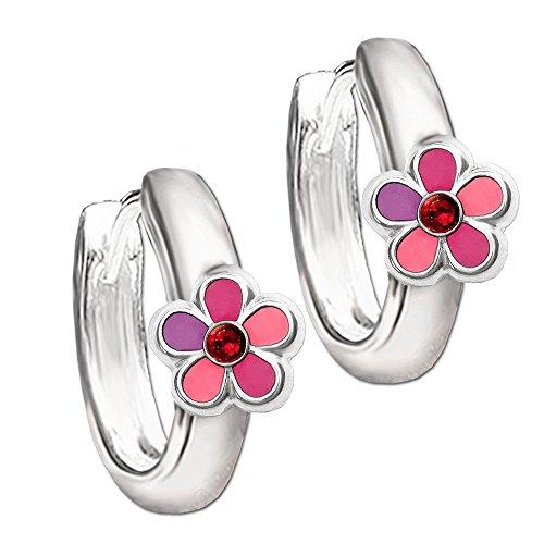 Clever Schmuck Silberne Kinder Creolen Ø 12 mm Blume pink rosa abgestuft mit Zirkonia rot STERLING SILBER 925