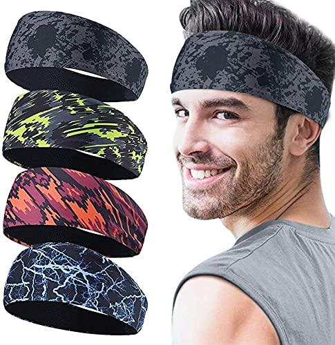 XJM Sport Headbands for Men, 4 Pack, Unisex Elástico Antideslizante Biking Biking Deedband Sweat Wicking Bandas para el Cabello para Deportes Fitness Hombre Yoga Corriendo Diadema Elástica