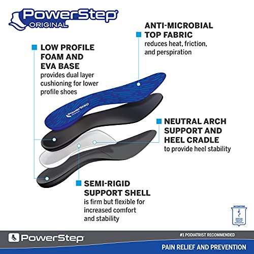 Powerstep Original Arch Support Insoles, Plantar Fasciitis Relief Shoe Inserts, Thin Orthotic Insoles Men and Women